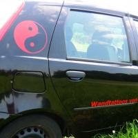 Yin Yang Autoaufkleber rot gibts im Shop von Lichterleben.com