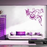 Wohntraum in Pflaume mit Blume des Lebens Kissen in Pflaume Silberdruck