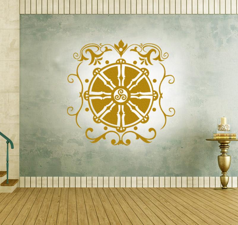 Dharma Chakra Wandtattoo