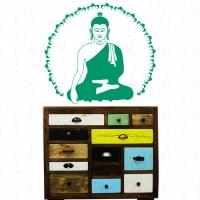 Buddha Lotus Wandtattoo von Lichterleben; Kommode Shiva Arts Indien Kollektion Recycling
