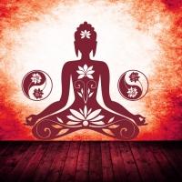 Buddha Motiv in der Frabe dunkelrot