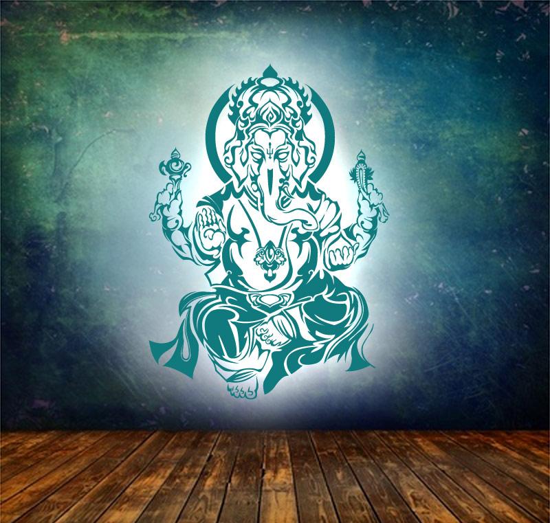 Ganesha Wandtattoo in Petrol