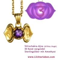 Stirnchakra Ajna Chakra Drittes Auge Chakra Kettenanhänger Gold