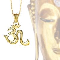 OM Symbol Kettenanhänger sterlingsilber 18 Karat Vergoldet
