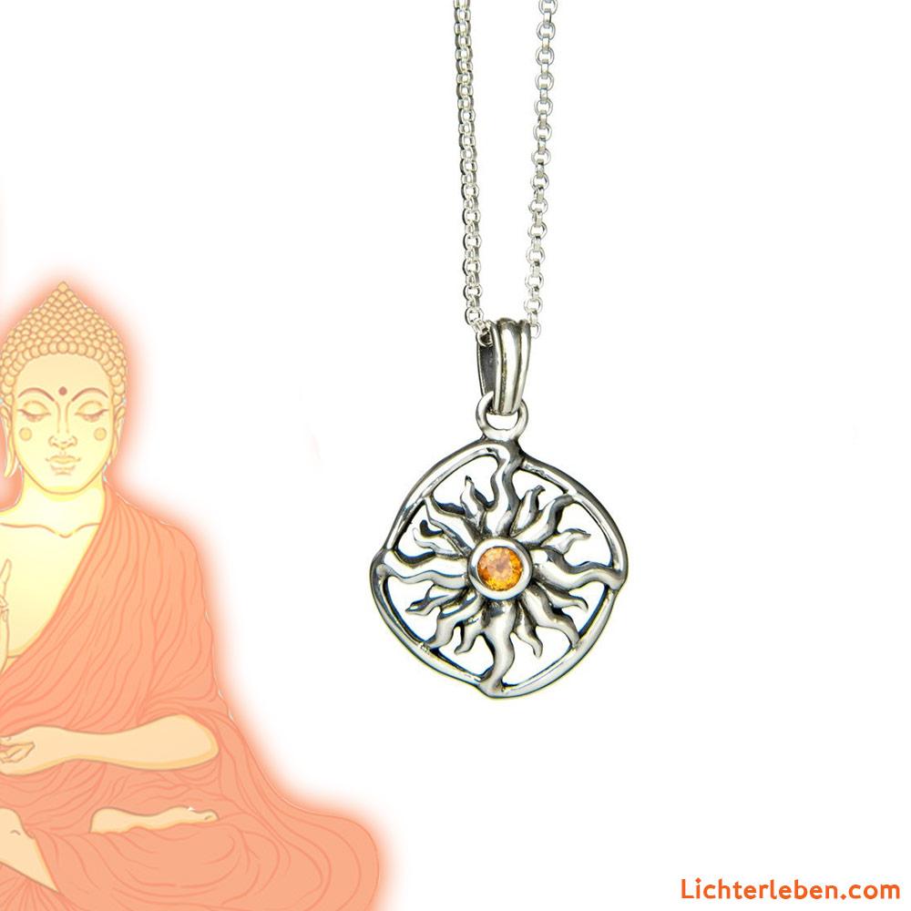 Sonnenrad mit Saphir Silber