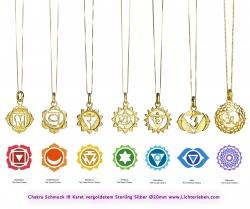 Chakra Anhänger vergoldet 18 Karat Gold