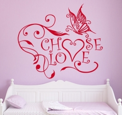 Choose Love Wandtattoo mit Schmetterling