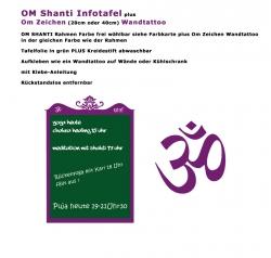 OM Shanti Infotafel für aktuelle Infos im Yoga Studio