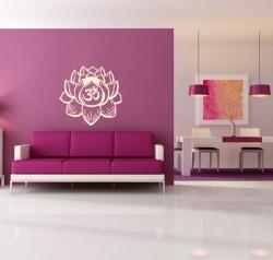 Lotusblüte Wandtattoo mit OM Zeichen
