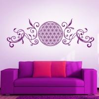 Blume des Lebens mit Ranken in Pflaume setzt Akzente für die Farbumgebung in Pink