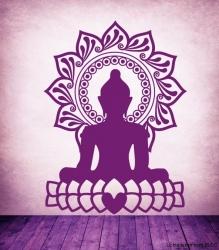 Wandtattoo Buddha Herz in der Farbe Pflaume für das Trendtableaux Radiant Orchid