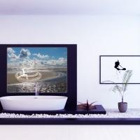 Yogastudio Design Wanddeko mit OM am Meer