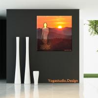 Wandbild Deko Buddha Sunset mit Lotusblumen
