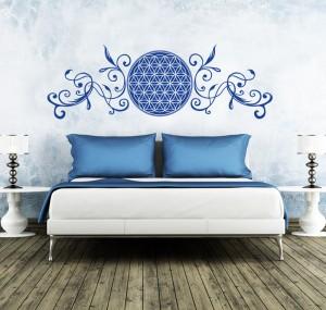 Blume des Lebens mit Ranken als Wandtattoo in blau beruhigt