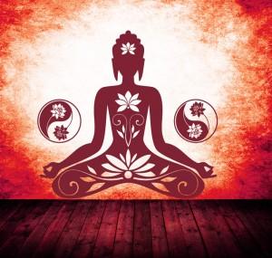 Buddha YinYang Lotus Wandtattoo