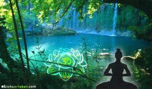 Lotusblüte mit Om Zeichen und Yogi am See