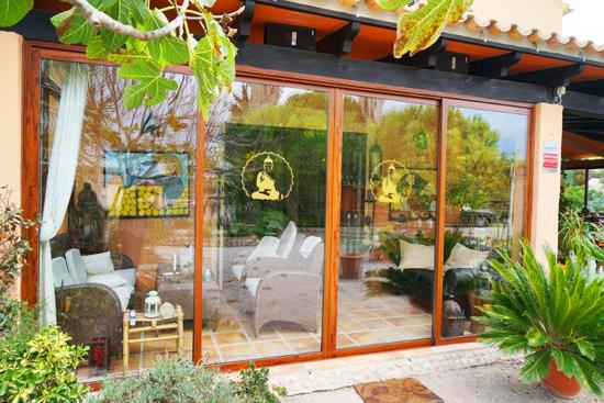 Buddha Lotus Aufkleber/Wandtattoo in Gold auf Glas