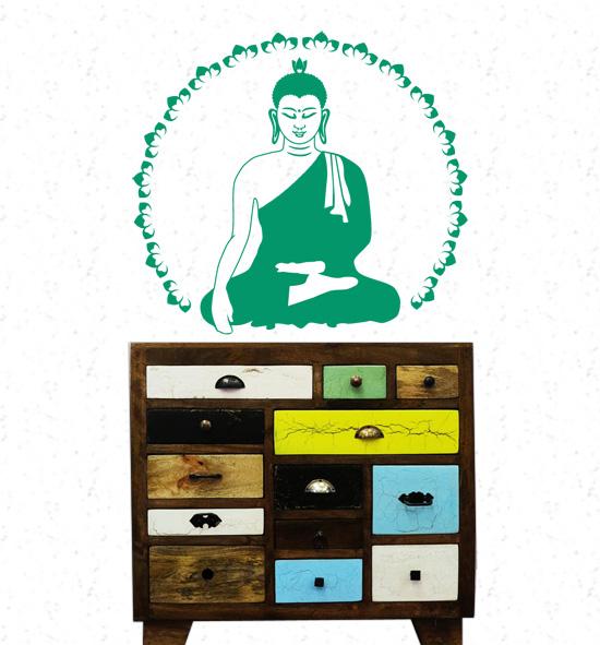 Buddha Lotus Wandtattoo von Lichterleben Kommode Shiva Arts Indien
