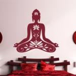 Buddha mit Blumenranken Wandtattoo
