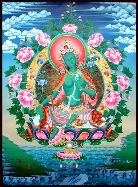 Grüne Tara Darstellung vom Dharmapala Center School od Thangka Painting