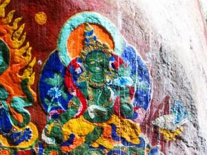 Gruene Tara Felsmalerei Tibet