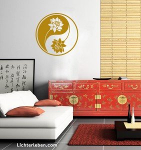 Lotusblume Yin und Yang in Gold