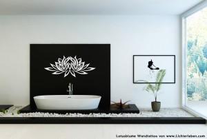 Lotusblume Wandtattoo in Weiss
