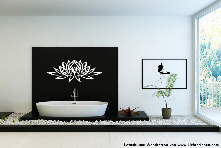 Lotusblume Wandtattoo in Weiss