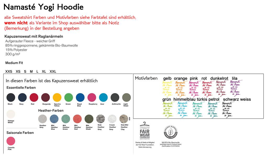 Farbtabelle Organic Hoodies Bio Baumwolle