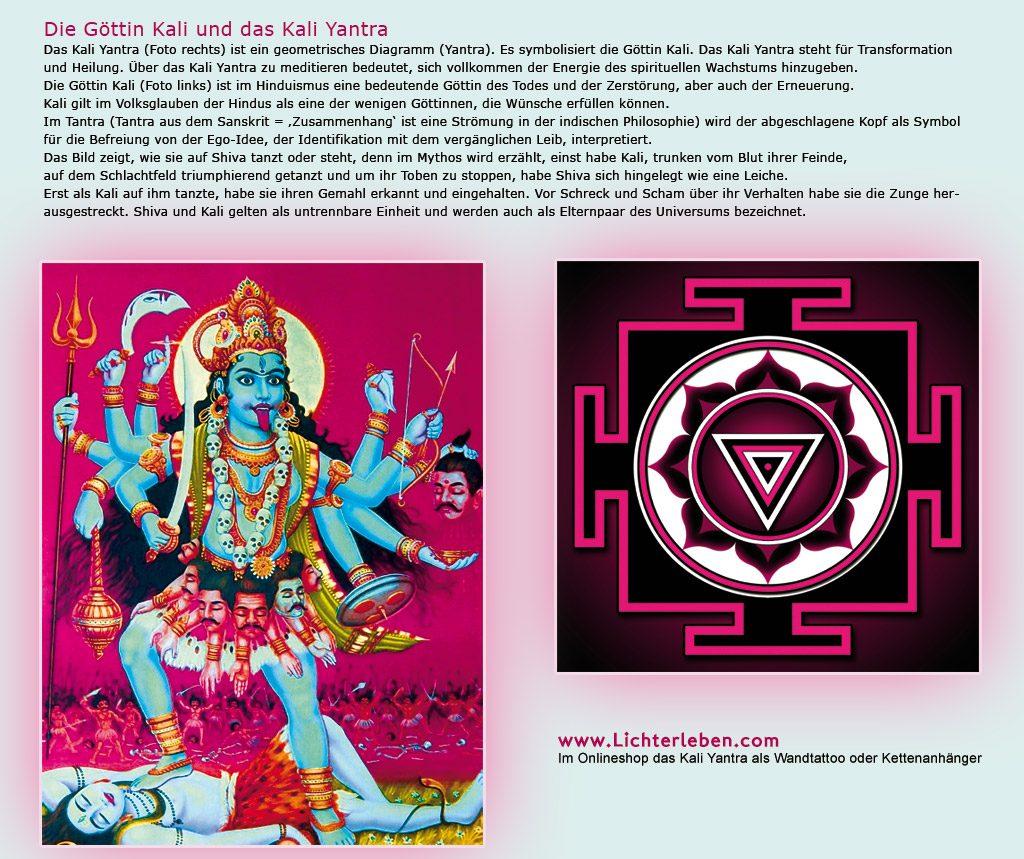 Hindu Göttin Kali und das Kali Yantra im Shop als Wandtattoo oder Kettenanhänger