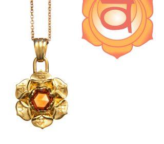 Swadhisthana Chakra Anhänger Gold mit Citrin