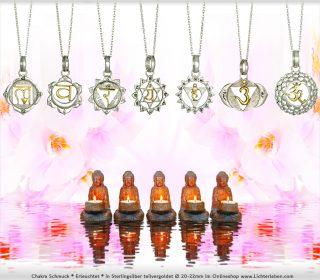 Alle 7 Chakren Kettenanhänger Teilvergoldet