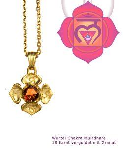 Muladhara Chakra vergoldet 18 Karat mit Granat