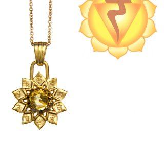 Chakra Anhänger Gold mit Citrin
