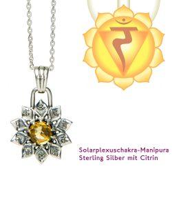 Chakra Anhänger Silber mit Citrin