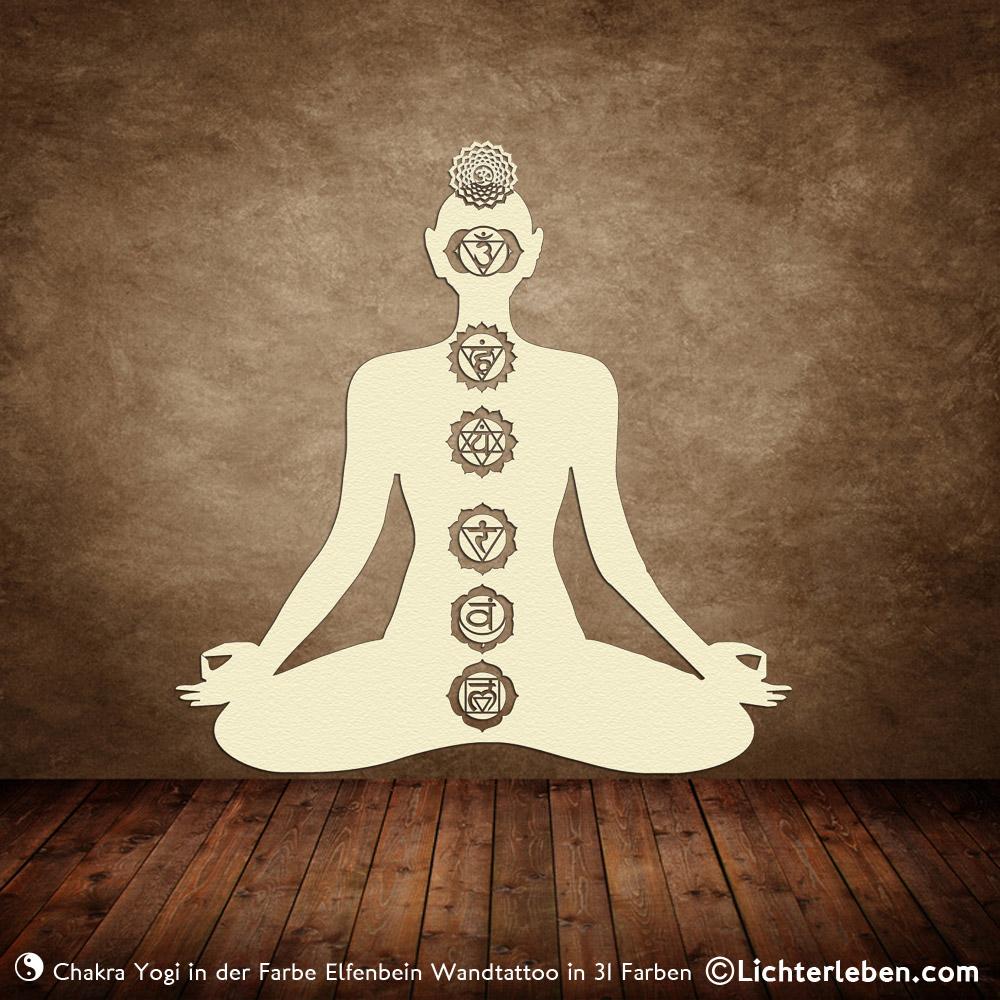 Wandtattoo Chakra Yogi in 31 Farben für Yogastudio oder Gesundheitspraxis