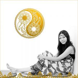 Yin Yang Hippie Style Wandtattoo