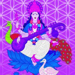 Saraswati Wandtattoo