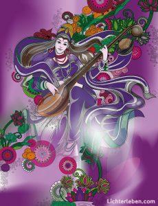 Saraswati als Bild auf Fotoleinwand oder Alu Dibond Bild