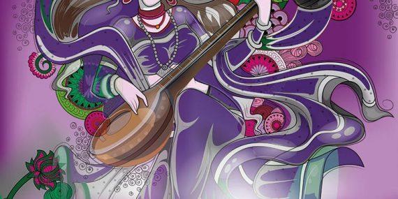 Saraswati Bild auf Fotoleinwand