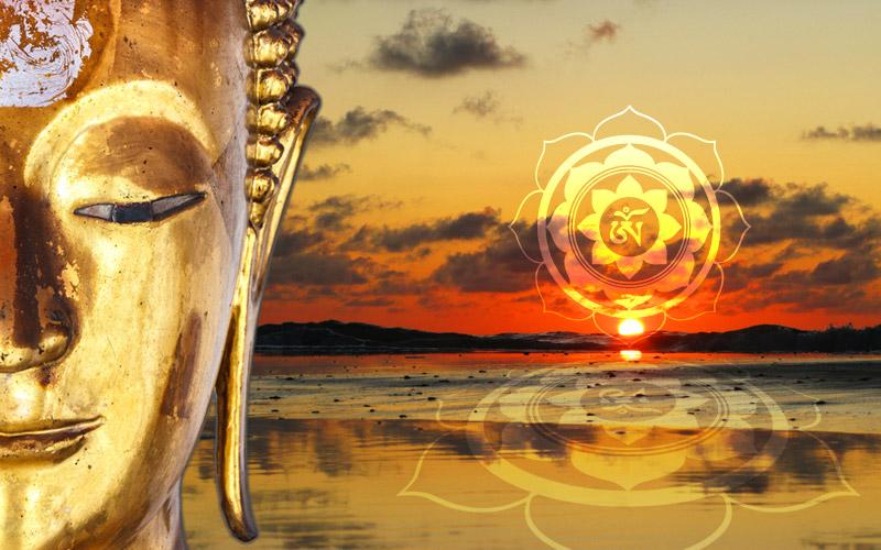 Wanddeko Bild Buddha Golden