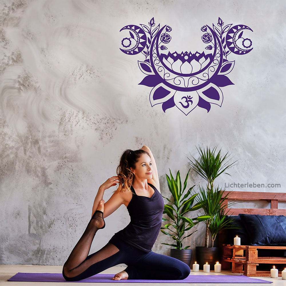 Wandtattoo Moonlight Lotus Yoga Design in 31 Farben
