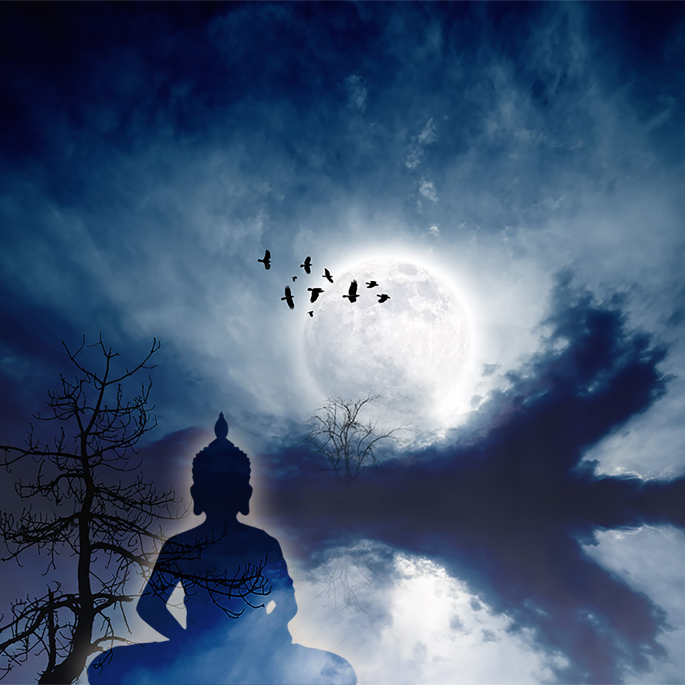Wanddekobild Moonlight mit Thai Buddha Design