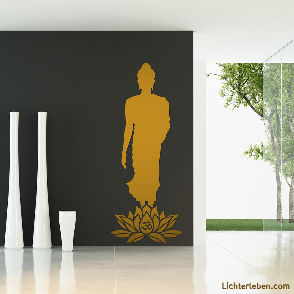 Wandtattoo Buddha stehend Lotus OM