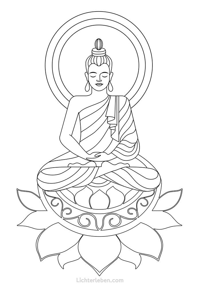 Buddha Lotus Ausmalbild Vorschaubild