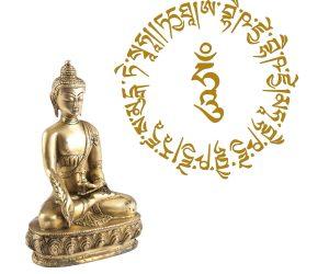Wandtattoo Medizin Buddha Mantra in Gold