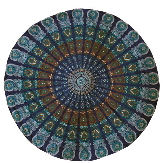 Strand - Picknickdecke Mandala Blau-Grün 150cm