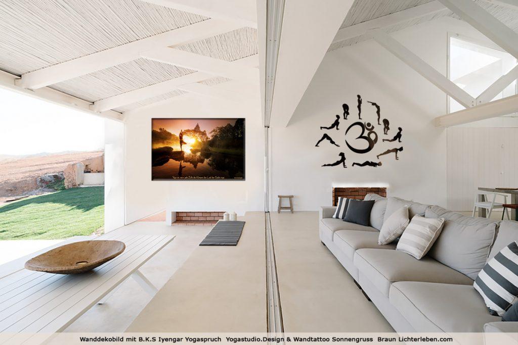 Wanddekobild von Yogastudio Design und Wandtattoo von Lichterleben.com Wandtattoo