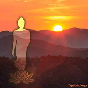 Wanddeko Bild Buddha walking into Light