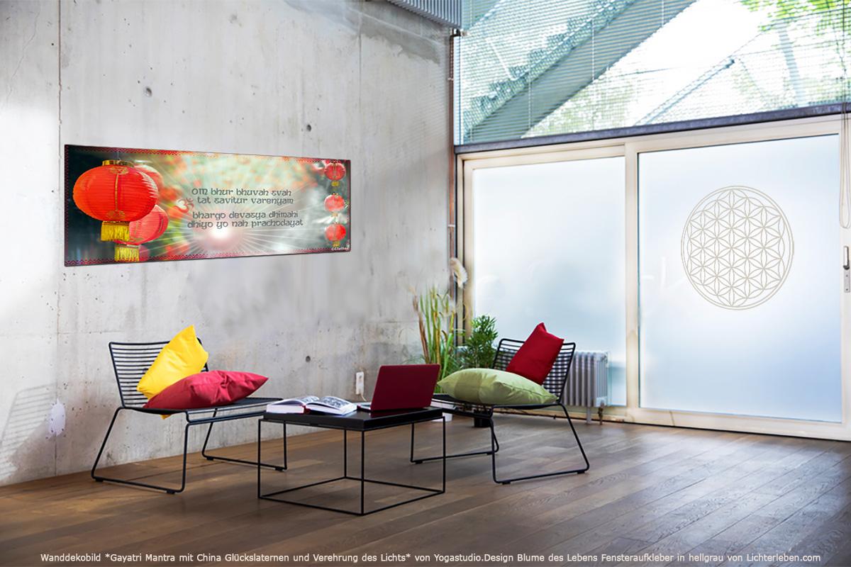 Mantra Wanddekobild Gayatri Blume des Lebens Fensteraufkleber
